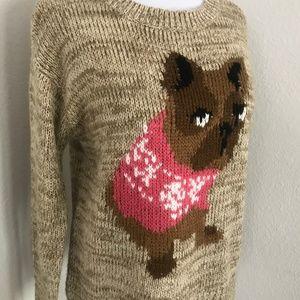 Rewind knit sweater NWOT French bulldog, puppy